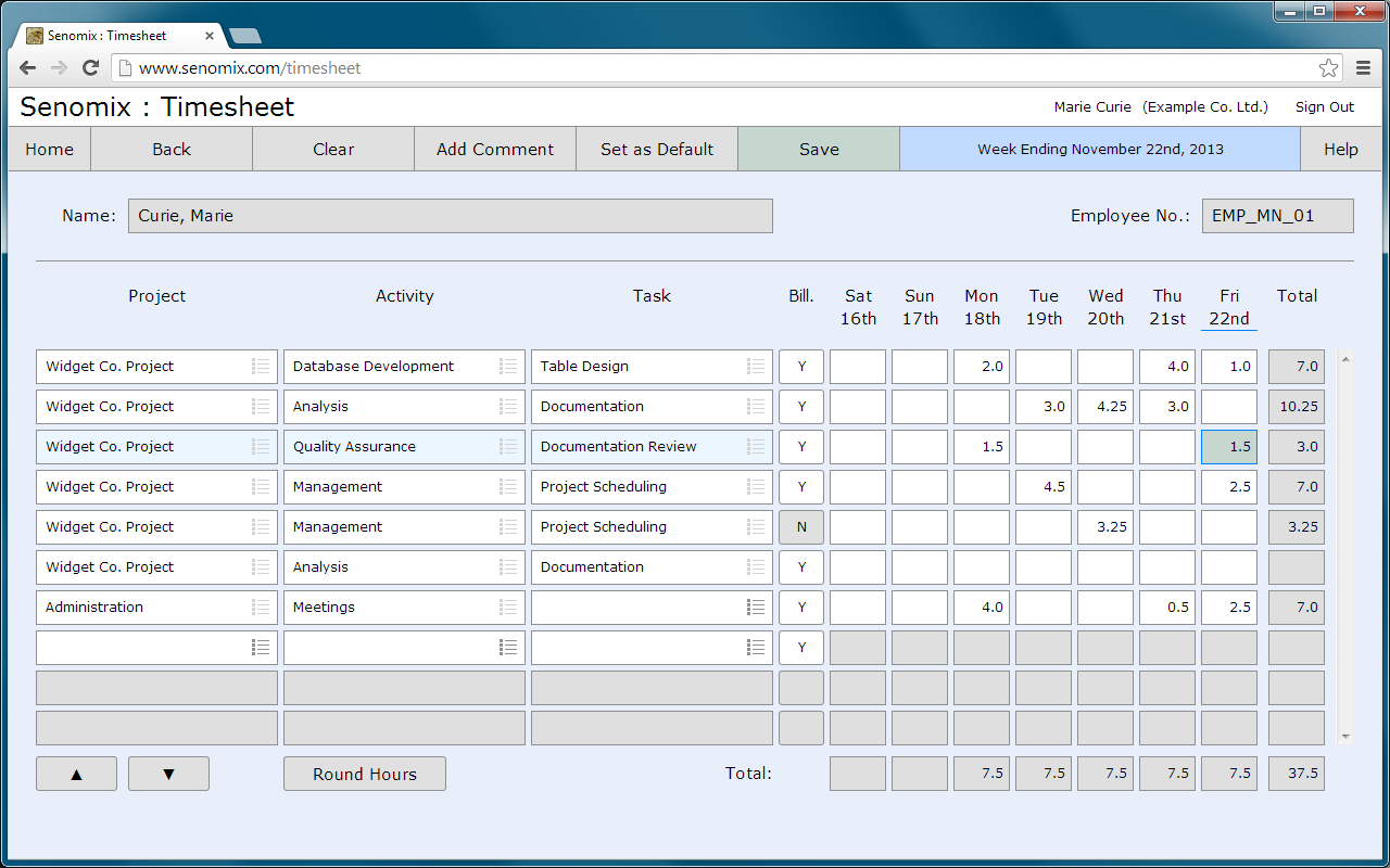 Senomix Timesheets full screenshot